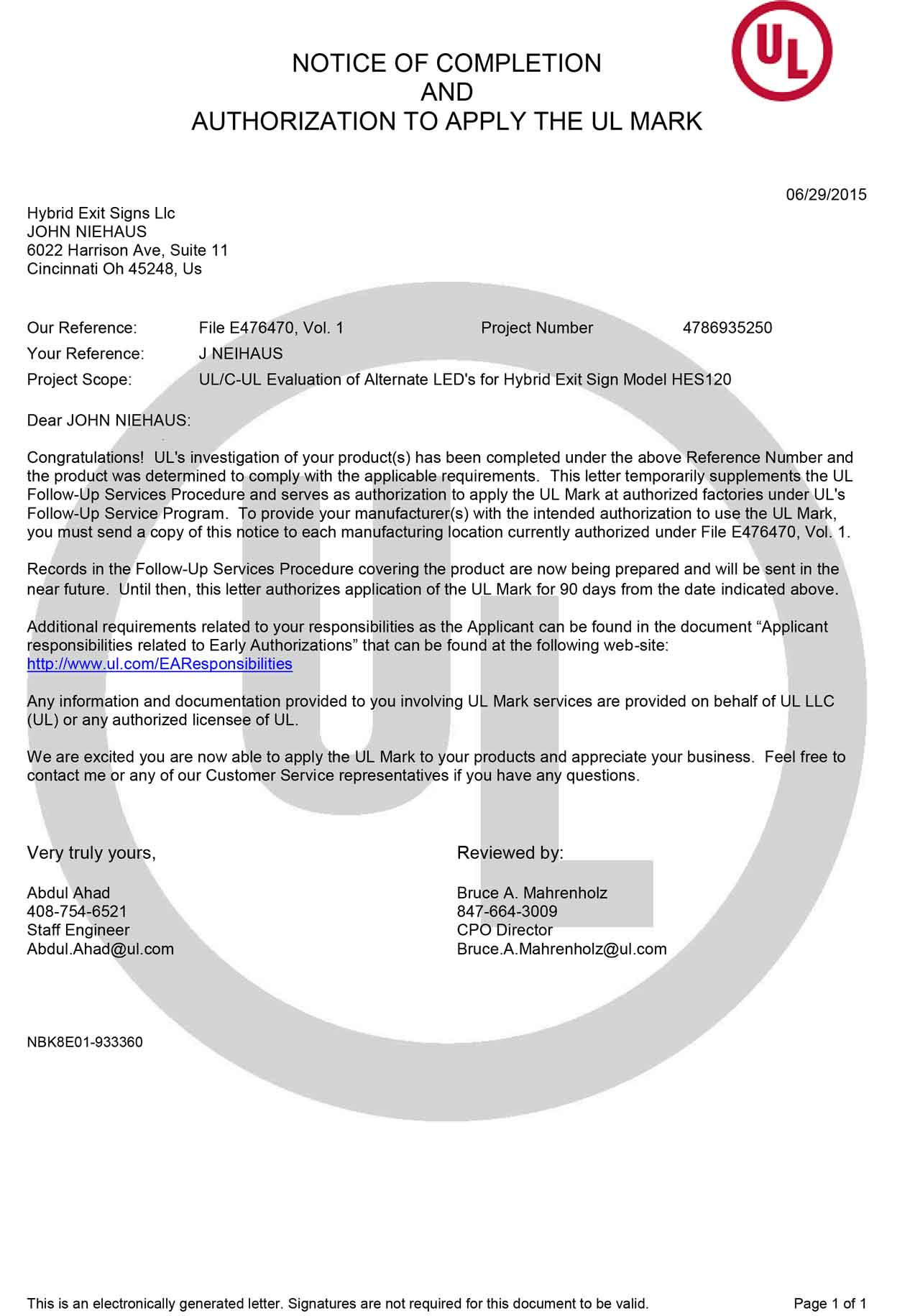 certification letter for completion project autocad